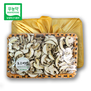 초정 무농약 건표고버섯 선물세트 300g(슬라이스)_보자기포함