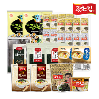 광천김 식자재 8종 꾸러미 세트 (김4종+미역+다시마+떡국+쌀국수)