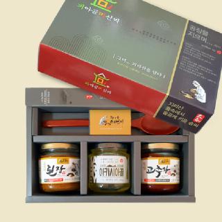 피아골미선씨 장류2종, 천연벌꿀(옻수저) 프리미엄 선물세트 2호