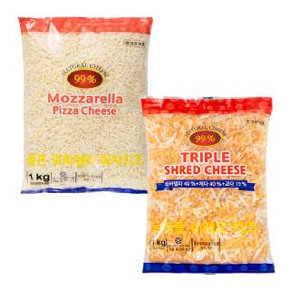모짜렐라 피자치즈 1kg + 트리플 슈레드 치즈 1kg