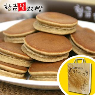 황금보리 순수 국내산 보리로 만든 찰보리빵 30개입 (개당25g) / 선물박스포장
