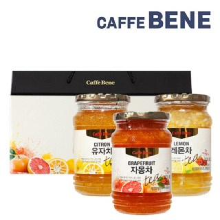 카페베네 홈카페 과일청 선물세트(유자,자몽,레몬 3입)