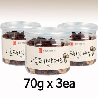 2019 햇견과 유기샘 아몬드 바삭대추 70g X 3개