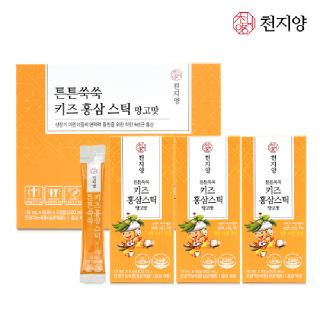 천지양 튼튼쑥쑥 키즈홍삼스틱 망고맛 (10ml x 10포 x 3박스)