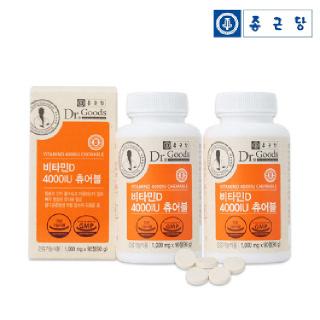 종근당 닥터굿스 비타민D 4000IU 츄어블 (1,000mg x 90정)*2병