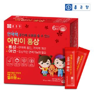종근당 6년근 어린이 홍삼 아연 스틱(면역력 증진에 도움을 줄 수 있는)30포*1세트