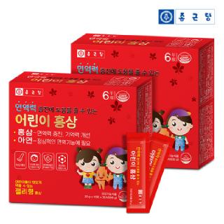 종근당 6년근 어린이 홍삼 아연 스틱(면역력 증진에 도움을 줄 수 있는)30포*2세트