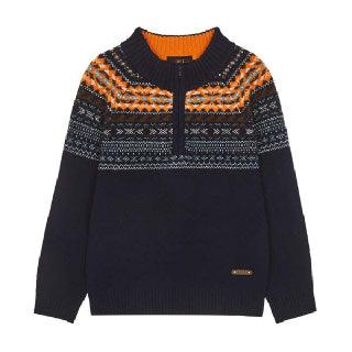 (현대Hmall)[닥스키즈] 페어아일 반집업 스웨터 풀오버 DPW11KT11M_NV