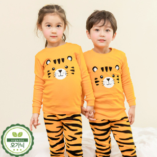 유아 아동 내의 주니어 공용 실내복 어린이 내복 /M라운드타이거(30수)