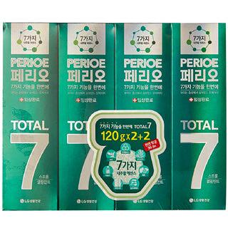 [전단상품]LG 페리오 토탈7 스트롱 어드밴스 치약, 120g x 4개