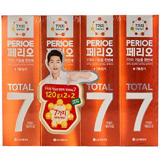 [전단상품]LG 페리오 토탈7 마일드 어드밴스 치약, 120g*4개