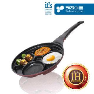 (현대Hmall)키친아트 금상첨화 인덕션IH 4구나눔 계란후라이팬 27cm