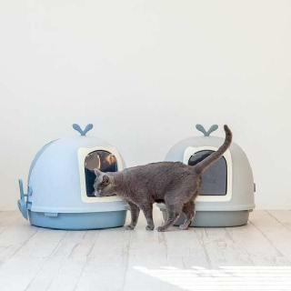 (현대Hmall)[은고양이] 초대형 후드 토일렛 블루 고양이화장실