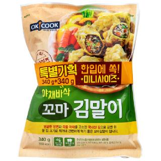 OKCOOK 야채바삭 꼬마 김말이, 340g + 340g