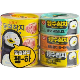 [전단상품]동원 펭수참치 + 살코기참치, 135g x 6개