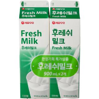 서울우유 후레쉬밀크, 900ml x 2개
