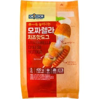 OKCOOK 모짜렐라 치즈핫도그, 400g(5개입)