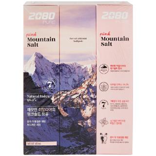 애경 2080 퓨어솔트치약 핑크민트향, 120g x 3개