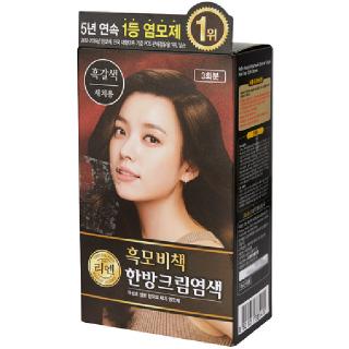 [전단상품]LG 리엔 흑모비책 한방크림염색 흑갈색(새치용), 120g(3회분)