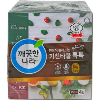 깨끗한나라 뽑아쓰는 키친타올 톡톡, 150매 x 4입