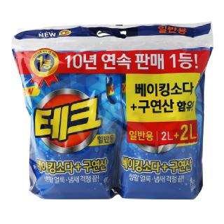 [전단상품]LG 테크 베이킹소다+구연산 액체세제(일반용), 2L + 2L
