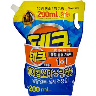 테크 베이킹소다+구연산 액체세제 리필 드럼용, 2L + 2L